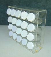 Mid Century Modern Storage Spice Rack 20 Glass Bottles Lucite Unusual Geocache