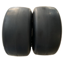 """2 New 13x6.50-6 Flat-Free Smooth Tires w/Steel Rim Hub 5.5""""-7.1""""with 3/4""""bearing"""