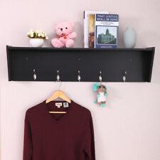 Black Hallway Wall Mount Coat Rack Storage Rack Shelf Organizer/ 5 Hooks