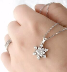 Women's 925 Sterling Silver White Crystal Romantic Snowflake Pendant Necklace 18