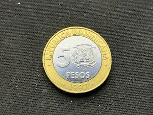 1997 Dominican Republic  5 Peso coin UNC   Bimetallic   #B061