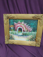 VINTAGE FRAME WITH HEAVY OIL PANITING ON BOARD FLOWER GARDEN