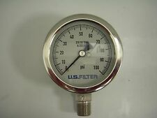 "NOSHOK 25-500-100-psi 1/4"" NPT. US Filter Dial. Liquid Filled Pressure Gauge."