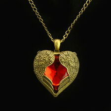 Women Vintage Red Heart Crystal Wings Pendant Long Chain Necklace Jewelry Gift