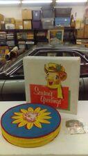 "Vintage HTF Borden's Milk Elsie Seasons Greetings 15"" Round Seat Cushion Milkman"