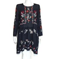ZARA Embroidered Black Floral Boho Semi Sheer Gauze Long Sleeve Dress size XS