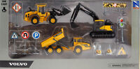 Large 12 Piece Diecast Volvo Diggers / Construction Vehicles Toy Play Set