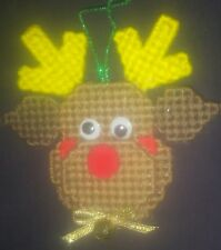 Hand-made Plastic Canvas Rudolph the Reindeer Christmas Tree Ornamenteer