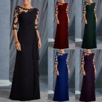 New Women Dress Long Formal Lace Evening Party Ball Gowns Maxi Sexy Dress UK