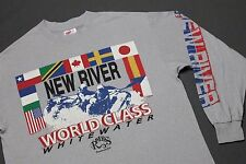L * vtg 80s 1989 NEW RIVER white water rafting FAYETTVILLE WEST VIRGINIA t shirt