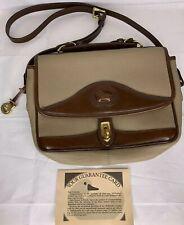 Dooney & Bourke Locking Flap Satchel Carrier Beige Brown Purse Handbag Bag