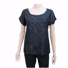 Michael Kors Womens Black Sequin Short Sleeve Shirt Top Blouse XS MSRP $225 NWT