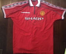 2fa419950 VINTAGE UMBRO MANCHESTER UNITED ORIGINAL FOOTBALL HOME SOCCER JERSEY MEN  LARGE