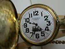 MAJESTRON GOLD TONE POCKET WATCH TRAIN ON COVER (SWISS PARTS) EASY READ