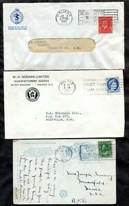 p987 - HALIFAX Lot of (3) Slogans. Two Covers & Postcard