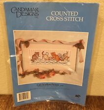 """Candamar Designs Cat Counted Cross Stitch Kit #50690 """"Cats in a Row"""" 1994 New"""
