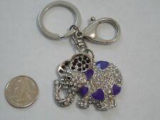 Metal Rhinestone Elephant Keychain-Bag Clip