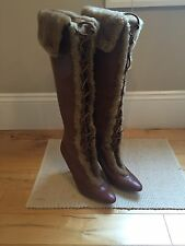 New MANOLO BLAHNIK Faux Fur Knee High Riding Heels Shoes Boots ITALY 39 $1895