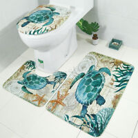 Sea Turtles Non Slip Toilet Cover Rugs Mat Bathroom Polyester Shower Curtain Set