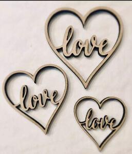 laser cut wooden LOVE, MUM, DAD, heart shapes mdf Craft hearts 4,5,6,8,10 cm
