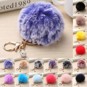 Fluffy Rabbit Fur Ball Key Chain Soft Cute Pompon Pendant Handbag Decors Keyring
