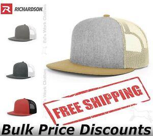 Richardson Mens Wool Blend Flat Bill Trucker Hat Cap 511  high-profile six-panel