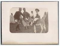 Algérie, Enfant au dos d'un âne  Vintage citrate print.  Tirage citrate