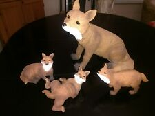 """Fox Family Figurines (4) New in box, larger sized, up to 10"""" tall x 10"""" wide"""