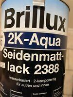 750 ML Brillux 2 K Aqua Seidenmattlack 2388 Farbton Siehe Deckel Restposten