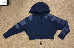 Ivy Park Copped Hoodie, Size S, Fits UK 8-10, Navy, Oversized, Bat Wing,Free P&P