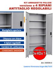 Armadio Tuttopiani in metallo per prodotti pulizie - L.80 x P.40x H.180 cm