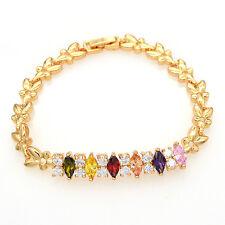 Women 18K Gold Plated Multicolor AAA+ CZ Cubic Zirconia Stones Bracelet Jewelry