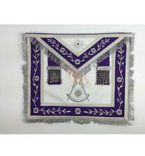 Masonic Past Master Silver Machine Embroidery Freemason Purple Apron MA036