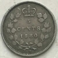 1880 H Canada 5 Cents - Silver