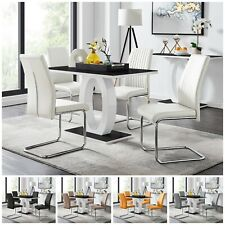 GIOVANI Black White Gloss Glass Dining Table Set and 4 Leather Chairs Seater