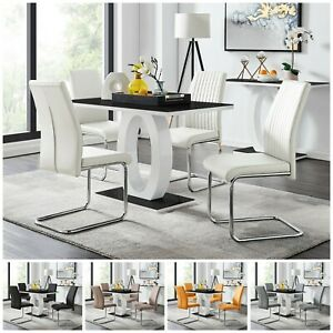 GIOVANI Black White Gloss Glass Dining Table Set & 4 Faux Leather Chairs Seater