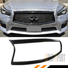 For:2014-2017 Infiniti Q50 S Carbon Fiber Front Grill Outline Trim Cover Overlay (Fits: Infiniti)