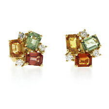 3.05 CT Multicoloer Sapphire 0.29 CT Diamonds in 18K Yellow Gold Stud Earrings