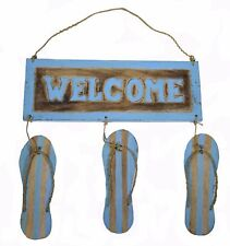 FLIP FLOP WELCOME SIGN Wall Decor Pool House Deck Nautical Sea Ocean Wood RUSTIC