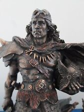 Norse Viking Warrior Statue Warlord with Sword Shield and Dragon Myth #WU75422A4