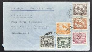 BOLIVIA to GERMANY 1939 Jaguar/Bird/Vicuna Camel on LAB-Condor Airmail Cover to