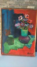 Peinture pot de fleur signée. Flower pot painting signed