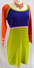 MOD knit sweater dress mini go go European designer geo Vtg 50s 60s SZ 44 US M L