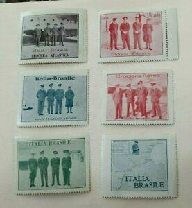Serie di 6 Erinnofili - CROCIERA ATLANTICA ITALIA BRASILE - 1930 - Italo Balbo