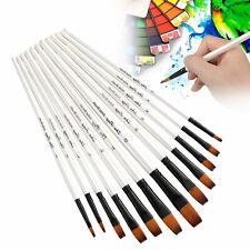 12 Artist Paint Brush Set Tip / Flat Oil Watercolor Painting Craft Art Model Kit