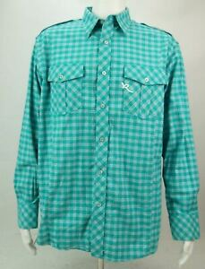Rocawear Authentic Men's Long Sleeve Button Up Shirt Blue Large