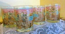 Vintage Culver Lowball Drink Glasses Set of 4 Floral Gold/Pink/Green Bands
