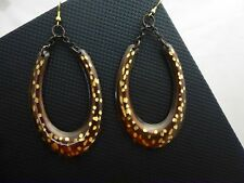 L by Elle Fashion Jewelry Shiny Brown Chipped Spotted Metal Dangle Hook Earrings