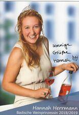 Autogramm Hannah Herrmann Badische Weinprinzessin handsigniert 2018/19 #