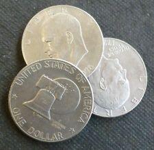USA Eisenhower Clad Dollar $1 Coins x3, Bicentennial 1776-1976 Moon & Bell type